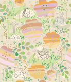 Seamless floral pattern for kid's design. Royalty Free Stock Photo