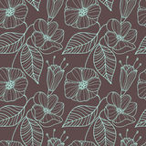 Seamless floral pattern with leaves and buds. vector illustration