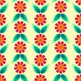 Seamless floral pattern with leaves and flowers. Royalty Free Stock Image