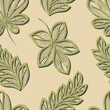 Seamless Floral Pattern with Leaves (Vector) Royalty Free Stock Images