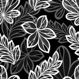 Seamless Floral Pattern with Leaves (Vector) Stock Photo