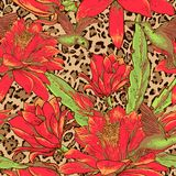 Seamless floral pattern on leopard background Stock Photography