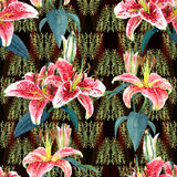 Seamless floral pattern lilies. Stock Photo