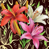 Seamless floral pattern with lilies Royalty Free Stock Images