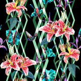 Seamless floral pattern lilies. Stock Photography