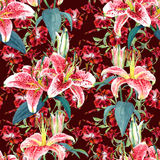 Seamless floral pattern lilies. Royalty Free Stock Photo