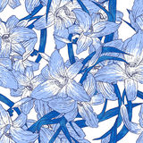 Seamless floral  pattern with lilies Royalty Free Stock Photography