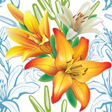 Seamless floral pattern with lilies Stock Image