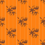 Seamless floral pattern with lily on orange Royalty Free Stock Images