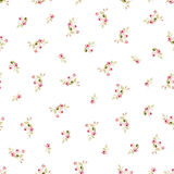 Seamless floral pattern with little red roses Stock Photo