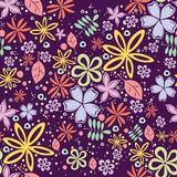 Seamless floral pattern with a lot of little flowers on violet background. Abstract floral pattern Stock Photos