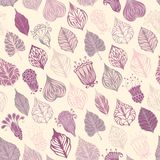 Seamless floral pattern. A lot of various ornate leaves and flowers. Can be used for wrapping paper Royalty Free Stock Photography