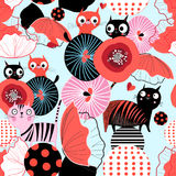 Seamless floral pattern with lovers cats. Seamless bright floral pattern with lovers cats on a light background Stock Photos