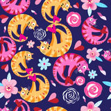 Seamless floral pattern with lovers cats Royalty Free Stock Photography