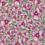 Seamless floral pattern made of purple malva flowers on grey background. Watercolor painting. Hand drawn and painted illustration. Can be used as for fabric Royalty Free Stock Photo