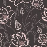 Seamless floral pattern with magnolia flowers Stock Photos