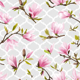 Seamless Floral Pattern. Magnolia Flowers Royalty Free Stock Photos
