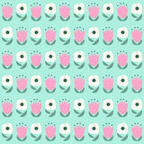 Seamless floral pattern on mint green background. Royalty Free Stock Images