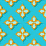 Seamless floral pattern. Orange and bright blue 3d designs. Vector illustration Vector Illustration