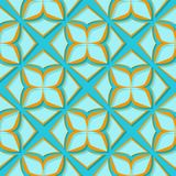 Seamless floral pattern. Orange and bright blue 3d designs. Vector illustration Stock Illustration