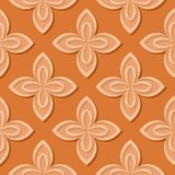 Seamless floral pattern. Orange 3d designs. Vector illustration Royalty Free Illustration