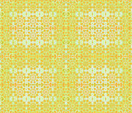 Seamless floral pattern orange green. Abstract geometric grid background, seamless floral pattern, arabesque in oriental style, amber blossoms on pastel green Royalty Free Stock Image