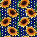Seamless floral pattern with orange sunflower flowers. Vector illustration, bright seamless floral pattern in vintage style, beautiful cartoon orange sunflower Royalty Free Stock Photos
