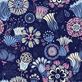 Seamless floral pattern. Ornate bright floral elements on dark background. Can be used for wrapping paper Stock Photography