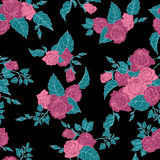 Seamless floral pattern with outline pink roses Royalty Free Stock Photos