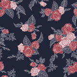 Seamless floral pattern with outline roses Stock Images