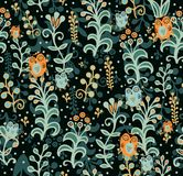 Seamless floral pattern with owls Stock Image