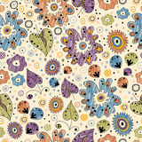 Seamless floral pattern painted markers. Bright seamless floral pattern painted markers for textiles, interior design, for book design, website background Stock Image