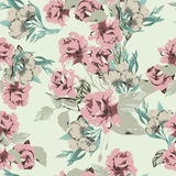 Seamless floral pattern with pastel pink roses Stock Photos