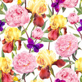 Seamless floral pattern. Peonies pink flowers, iris flower and butterflies. Watercolor. Seamless floral pattern. Peonies pink flowers and irises. Watercolor Royalty Free Stock Image