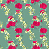 Seamless floral pattern with peonies Stock Images
