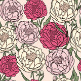 Seamless floral  pattern peony. Flowers and leaves, can be used as greeting card, invitation card for wedding, birthday and Stock Photography