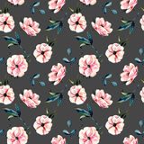 Seamless floral pattern with pink anemone flowers and green leaves. Hand drawn isolated on a dark background Stock Photo