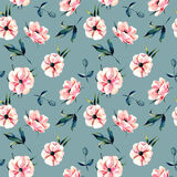 Seamless floral pattern with pink anemone flowers and green leaves. Hand drawn isolated on a dark blue background Royalty Free Stock Photos