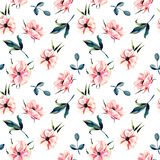 Seamless floral pattern with pink anemone flowers and green leaves Stock Photos