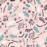 Seamless floral pattern on pink background Royalty Free Stock Images