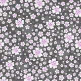 Seamless floral pattern with pink colored flowers on gray background Stock Photos