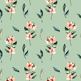 Seamless floral pattern with pink flowers branches and green leaves Royalty Free Stock Photos