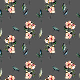 Seamless floral pattern with pink flowers branches and green leaves Stock Image