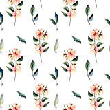Seamless floral pattern with pink flowers branches and green leaves Stock Images