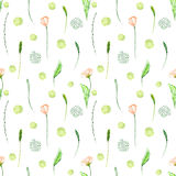 Seamless floral pattern with pink flowers and floral elements Stock Photos