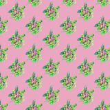 Seamless pattern with flowers and leaves on pink background stock illustration