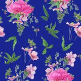 Seamless floral pattern with pink peonies, anemones, eucalyptus. Watercolor painting. For design textile, card and banners Stock Photos