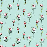 Seamless floral pattern with pink peony flowers buds. Hand drawn isolated on a blue background Stock Image
