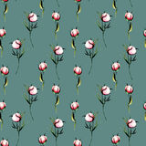Seamless floral pattern with pink peony flowers buds. Hand drawn isolated on a dark green background Stock Photography