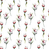 Seamless floral pattern with pink peony flowers buds Royalty Free Stock Photography